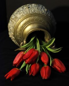 "Nancy Ridenour • <em>Bronze Artifact and Tulips</em> • Archival print on canvas • 16""×20"" • $150.00"