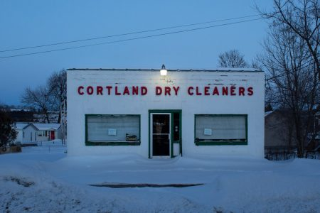 """Lillian Lickona • <em>Cortland Dry Cleaners at Dusk</em> • NFS<a class=""""purchase"""" href=""""mailto:lilyjoanlickona@gmail.com?subject=Inquiry about Cortland Dry Cleaners at Dusk"""" target=""""_blank"""">Contact</a>"""