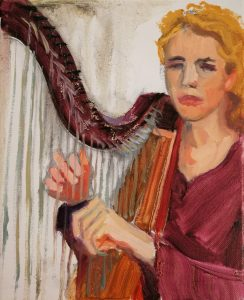 "Irina Kassabova • <em>Harp Player I</em> • Oil on canvas • 8""×10"" • $35.00<a class=""purchase"" href=""https://state-of-the-art-gallery.square.site/product/irina-kassabova-harp-player-i/536"" target=""_blank"">Buy</a>"
