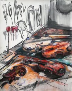 "Irina Kassabova • <em>The Luthier III</em> • Charcoal and pastel • 38""×47"" • $770.00"