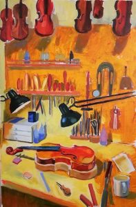"Irina Kassabova • <em>The Luthier's Corner</em> • Oil on canvas • 26""×38"" • $550.00"