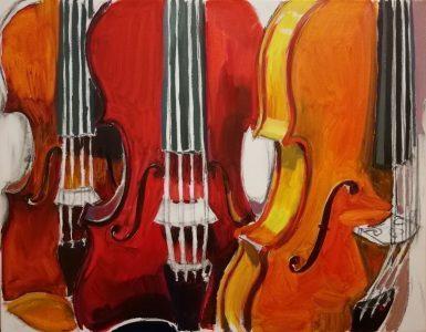 "Irina Kassabova • <em>The Red Violin</em> • Oil on canvas • 30""×24"" • $450.00"