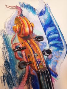 "Irina Kassabova • <em>The Ribbon (the Viola Case)</em> • Pastel • 30""×39"" • $425.00"