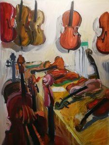 "Irina Kassabova • <em>To the Luthier</em> • Oil on canvas • 32""×42"" • $600.00"