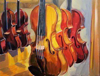 "Irina Kassabova • <em>Varnish and Sound </em> • Oil on canvas • 32""×26"" • $460.00"