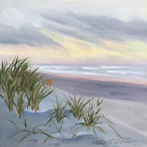 "Patty L Porter • <em>Stone Harbor Sunrise</em> • Oil on board • 6""×6"" • $50.00<span class=""sold""></span>"