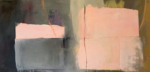 """Ileen Kaplan • <em>Together</em> • Oil overacrylic, oil pastel, collage • 30""""×15"""" • $950.00"""