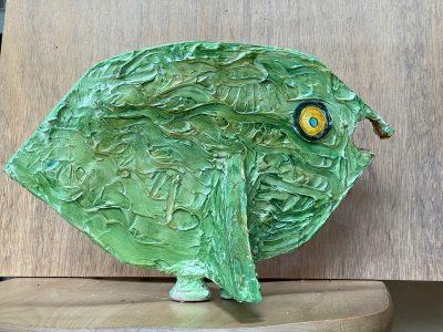 """MaryAnn Bowman • <em>Fresh Fish</em> • Wood and acrylic  • 14""""×9""""×7"""" • $275.00"""