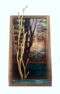 """Eva M. Capobianco • <em>FLT, M13 - Pond, Trees and Green Glass</em> • Photo, stained glass, found and reused wood • 12""""×23""""×5"""" • $425.00"""