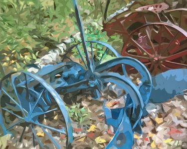 "Frances Fawcett • <em>Blue Machine</em> • Acrylic paint & Ultrachrome ink on canvas • 21½""×17½"" • $650.00"