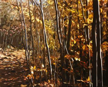 """Frances Fawcett • <em>Sunny Day</em> • Acrylic paint & Ultrachrome ink on canvas • 21½""""×17½"""" • $650.00"""