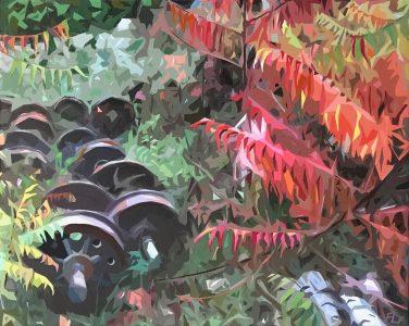 "Frances Fawcett • <em>Wheels, Sumac</em> • Acrylic paint & Ultrachrome ink on canvas • 21½""×17½"" • $650.00"