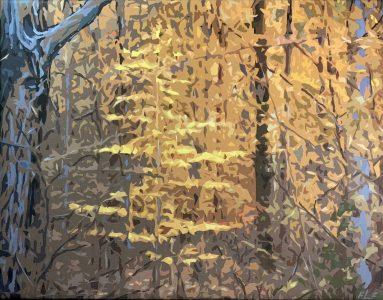 "Frances Fawcett • <em>Glowing Beech</em> • Acrylic paint & Ultrachrome ink on canvas • 21½""×17½"" • $650.00"