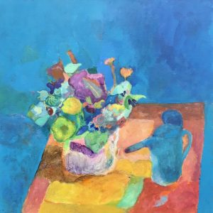 """Vincent Joseph • <em>Watering Can and Flowers</em> • Acrylic • 24""""×24"""" • $750.00"""