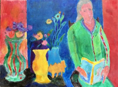 "Vincent Jospeh • <em>Woman Reciting</em> • Acrylic  • 24""×18"" • $900.00"