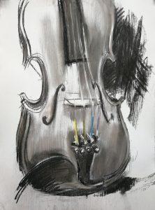 Irina Kassabova • <em>The Color of the Strings</em> • Charcoal and pastel • $450.00
