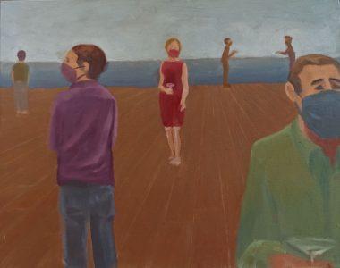 """Diana Ozolins • <em>Social Distancing</em> • Oil on canvas • 20""""×16"""" • $550.00"""
