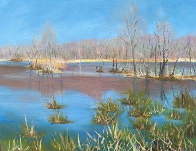 """Patty L Porter • <em>Teeter Pond Spring</em> • Oil on board • 12""""×9"""" • $50.00"""