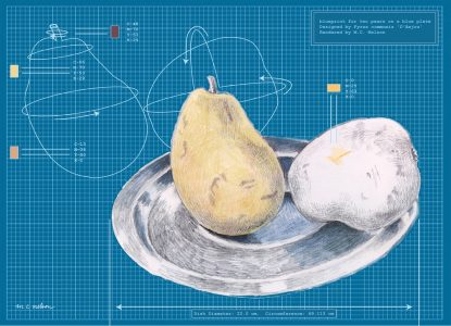 """Margy Nelson • <em>Blueprint for Two Pears</em> • Limited edition digital print • 18""""×14"""" • $180.00"""