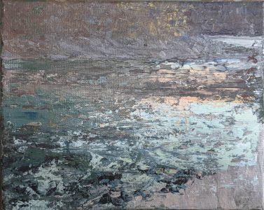 "Diana Ozolins • <em>Mad River October 5 PM</em> • Acrylic on canvas • 10""×8"" • $50.00"