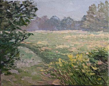 """Diana Ozolins • <em>St Lawrence Meadow, September</em> • Oil on canvas • 10""""×8"""" • $50.00"""